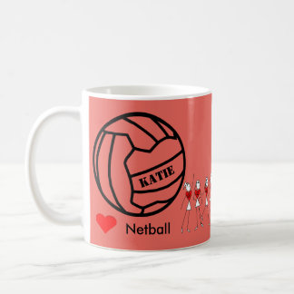 Personalised Love Netball Themed Ball Design Coffee Mug