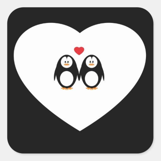 Personalised Love Penguins Square Sticker
