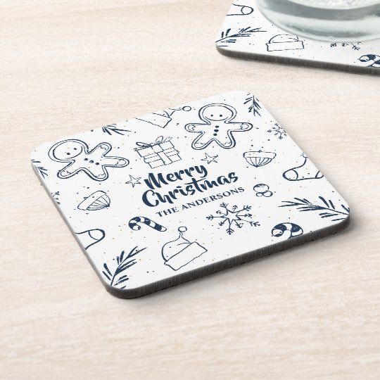 Personalised Lovely Christmas Sketch | Coaster