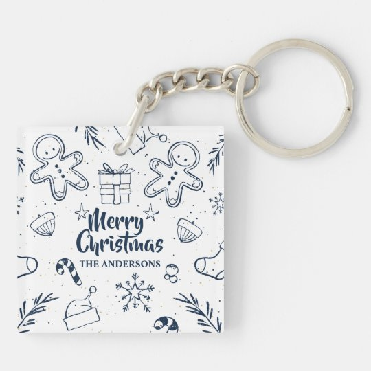 Personalised Lovely Christmas Sketch Keychain