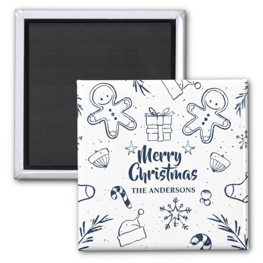 Personalised Lovely Christmas Sketch | Magnet
