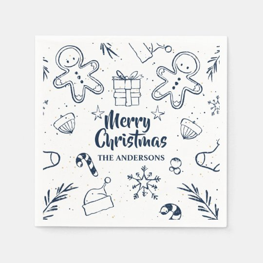 Personalised Lovely Christmas Sketch | Napkin Paper Serviettes