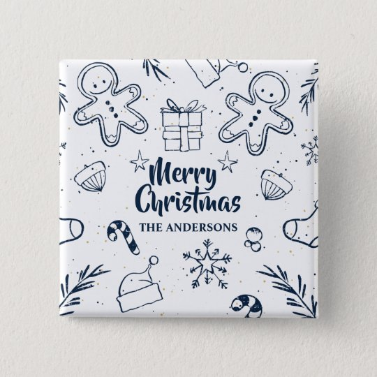 Personalised Lovely Christmas Sketch Pin Button