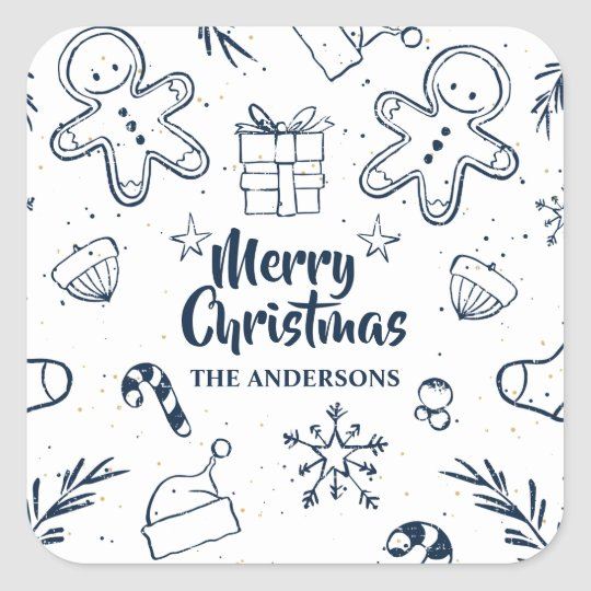 Personalised Lovely Christmas Sketch Sticker Seal