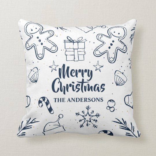 Personalised Lovely Christmas Sketch Throw Pillow