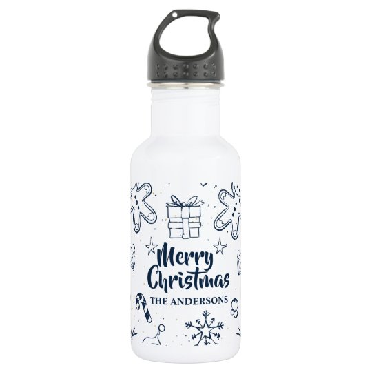 Personalised Lovely Christmas Sketch Water Bottle