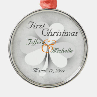 Personalised Lucky Clover Irish First Christmas Metal Ornament