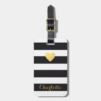 Personalised Luggage tag striped gold heart