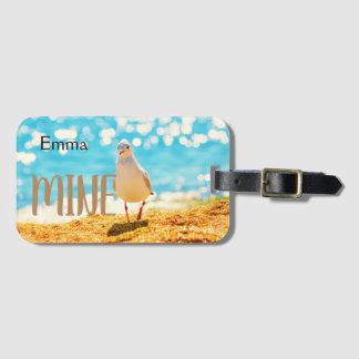 Personalised Luggage tag with seagull