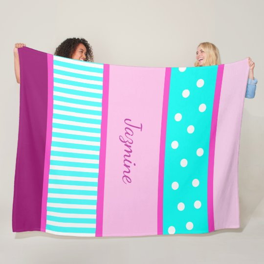 Personalised Magenta  Aqua Blue Dots Stripes Fleece Blanket