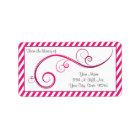 Personalised Magenta Swirl Bookplate Label