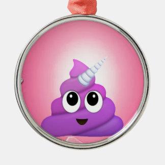 Personalised Magical Unicorn Poop Emoji Metal Ornament