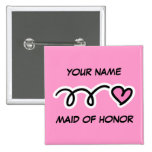 Personalised Maid Of Honour Button With Cute Heart