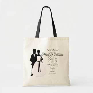 Personalised maid of honour wedding favour tote ba