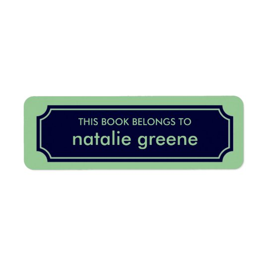 Personalised Mansard Bookplate Label, Navy / Green Return Address Label