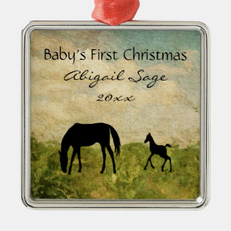 Personalised Mare Foal Horse Baby's 1st Christmas Metal Ornament