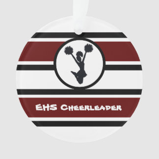 Personalised Maroon and Black Cheerleader Ornament