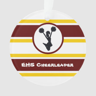 Personalised Maroon and Gold Cheerleader Ornament