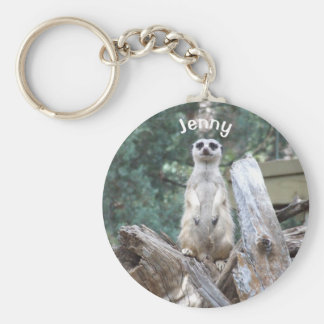 Personalised Meerkat Basic Round Button Key Ring