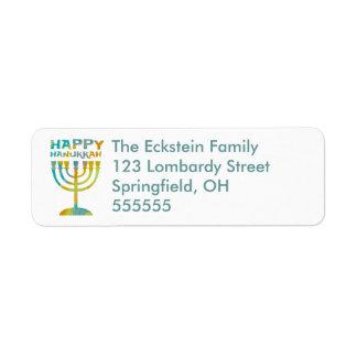 Personalised Menorah Happy Hanukkah Address Labels