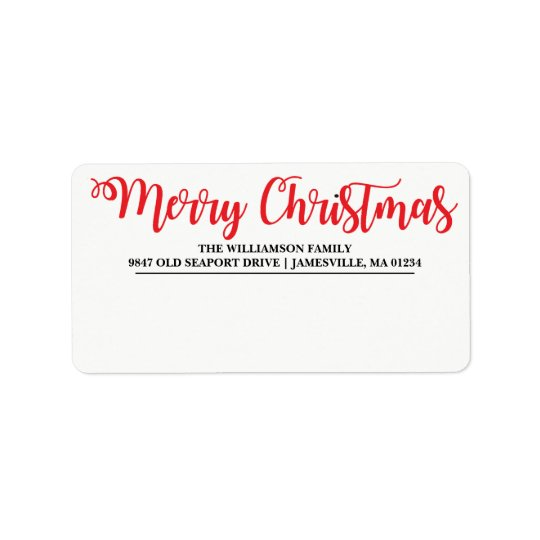 Personalised Merry Christmas Mailing Labels