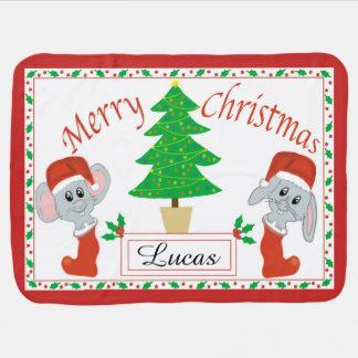 Personalised Merry Christmas Mouse Fleece Blanket