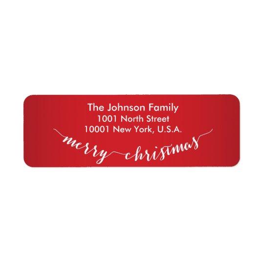Personalised Merry Christmas Return Address Labels