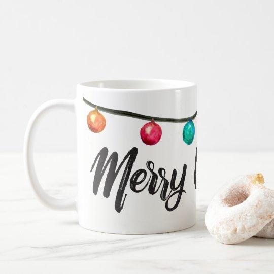 Personalised, Merry Christmas script Watercolor Coffee Mug