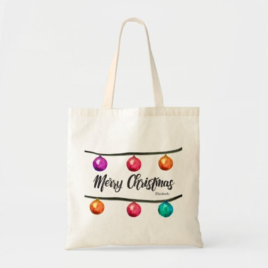 Personalised, Merry Christmas script Watercolor Tote Bag