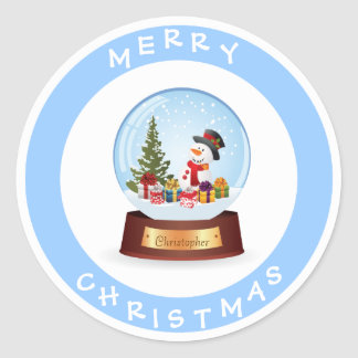 Personalised Merry Christmas Snowman Snowglobe Round Sticker