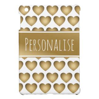 personalised metallic gold hearts ipad mini case