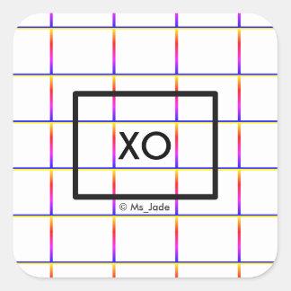 Personalised Minimalist Check Window Pane Pattern Square Sticker