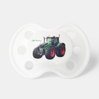 Personalised Modern Green Farm Tractor Baby Pacifier