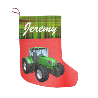 Personalised Modern Green Tractor Small Christmas Stocking