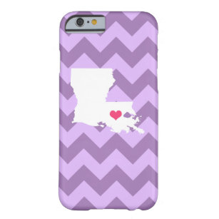 Personalised Modern Lilac Chevron Louisiana Heart Barely There iPhone 6 Case