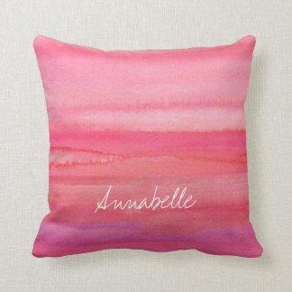 Personalised Modern Pink Rose Throw Pillow