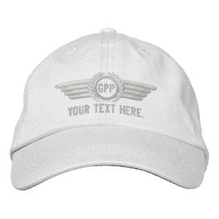 Personalised Monogram Aviation Laurels Pilot Wings Embroidered Hat
