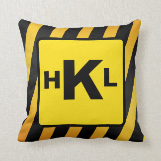 Personalised Monogram Construction stripes Cushion