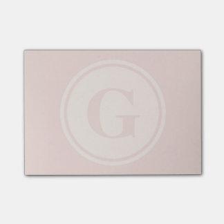 personalised monogram peach post-it notes