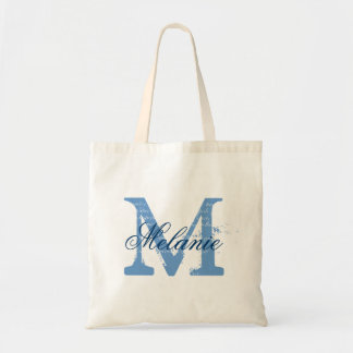 Personalised monogram tote bag | blue and white