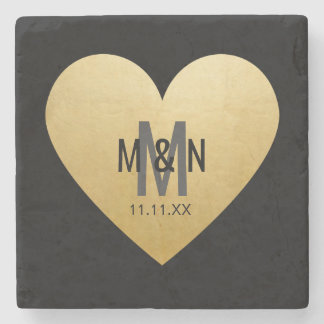 Personalised Monogrammed Gold Heart Wedding Stone Beverage Coaster