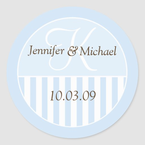 Personalised Monogrammed Wedding Favour Labels Round Sticker
