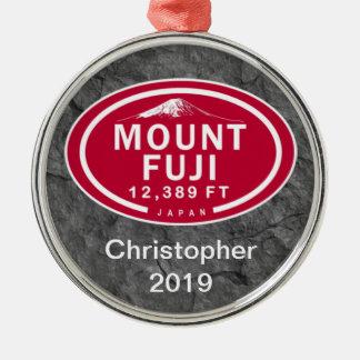 Personalised Mount Fuji 12,389 FT Japan Mountain Metal Ornament