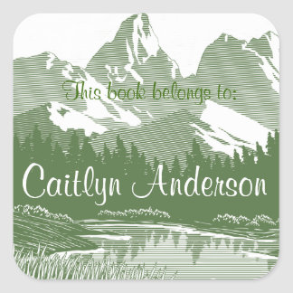 Personalised Mountains Bookplate Sticker
