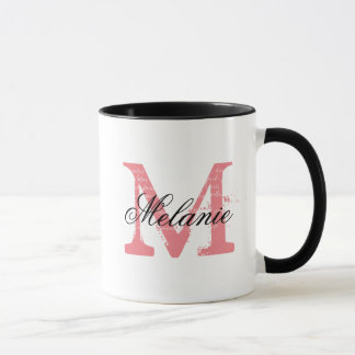 Personalised mug with elegant name monogram letter