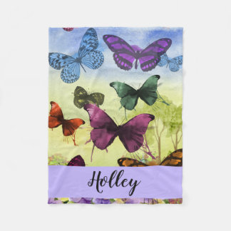 Personalised Multicolor Butterfly Watercolor Fleece Blanket