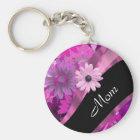 Personalised mum pink floral key ring