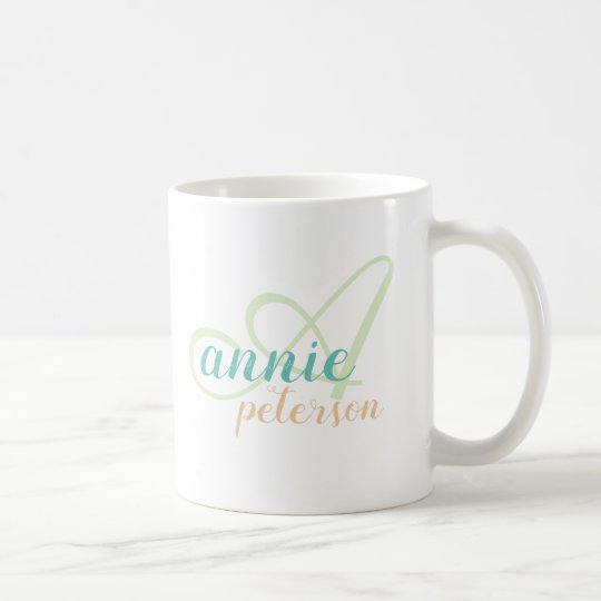 personalised name . A letter monogram on white Coffee Mug