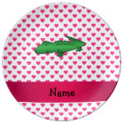 Personalised name alligator pink hearts polka dots plate