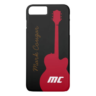 personalised name and initials red rock guitar iPhone 7 plus case
